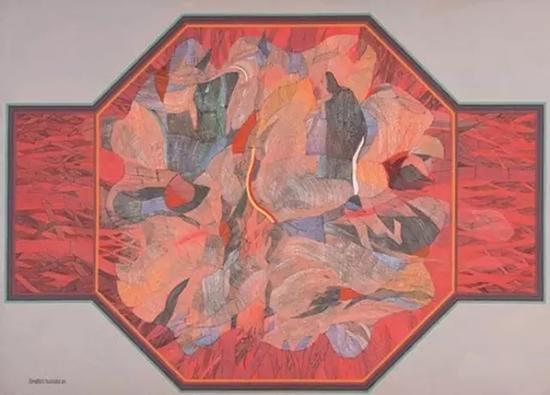 依布拉欣·胡先,《red,orange,core》,1984,布面丙烯,198.3×217.4 cm,马币797,500.00元成交(佳士得提供)