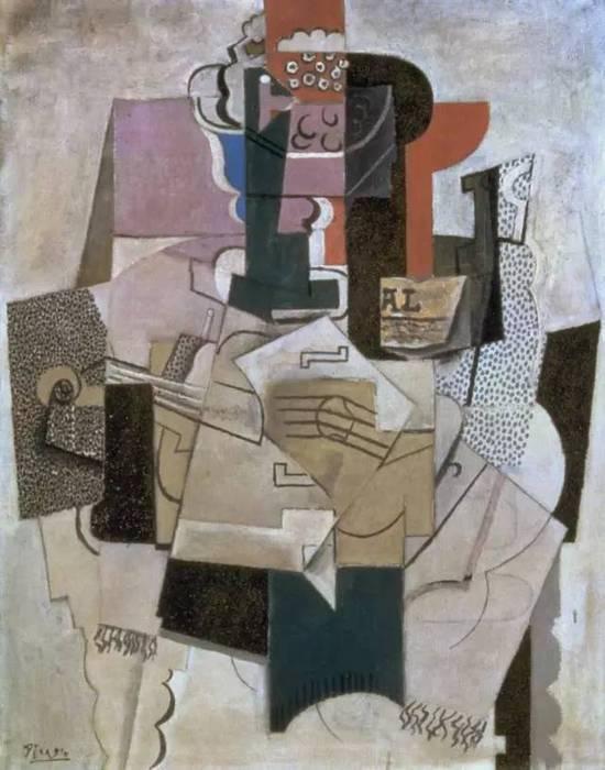 毕加索 Picasso - Fruit Dish, Bottle and Violin Picasso 1914  展览信息:  毕加索与他的缪斯  温哥华美术馆  2016年6月11日 - 10月2日