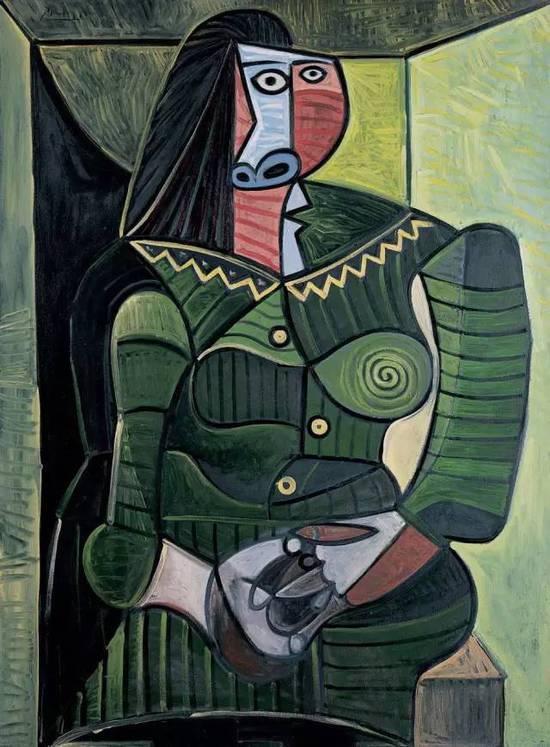 毕加索 Picasso - Woman in green (Dora)  第一位是Fernande Olivier。同为艺术家的她与毕加索在1904年相遇,是她开启了毕加索的粉红时期。据说,油画《亚维农的少女》的其中一人为 Olivier。