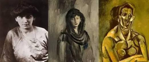 《亚维农的少女》,1907  Olga Khokhlova是一名乌克兰舞蹈家,也是毕加索的第一任妻子,并在1921年生下一子Paulo。由于1930年左右,毕加索与Marie-Thérèse Walter有染,选择离婚独自抚养儿子。