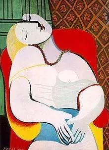 《梦》,1932  Dora Maar 是毕加索最重要的情人,南斯拉夫女摄影师、画家,与毕加索相恋了八年。在这张摄于1936年的照片上,多拉·玛尔用手指抚摸着自己的脸庞,就像毕加索1937年为她画的那幅《坐着的多拉·玛尔》。