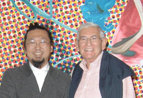 日本艺术家村上隆(Takashi Murakami)和收藏家伊莱·布罗德(Eli Broad)。图片:Photo: DAVID CROTTY/patrickmcmullan.com