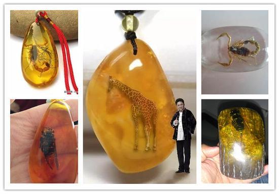 喜欢琥珀的朋友都知道,琥珀中带有虫子的虫珀更为珍贵稀有,正因为虫珀的珍贵,所以市面上仿造虫珀的也是屡见不鲜,大螳螂、大蜘蛛、大蜈蚣、大蝎子……就差真有于谦家的长颈鹿了。