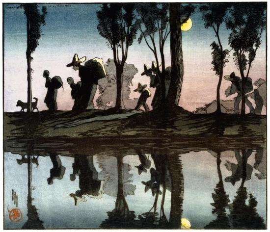 'Moonlight on the Viga Canal' - a color woodcut made by Hyde in 1912