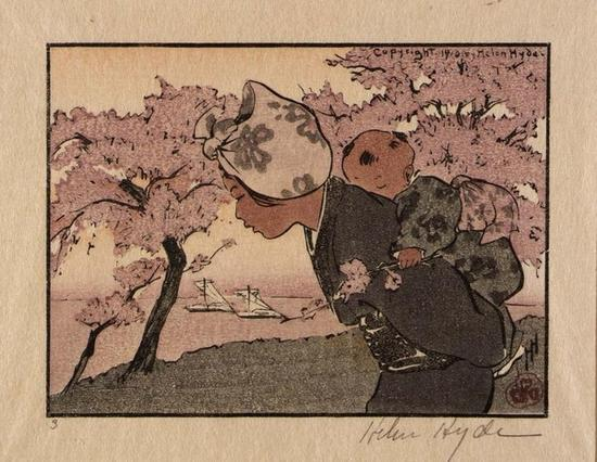 Cherry blossoms and April days。 Helen Hyde, An April Evening, 1910, Smithsonian