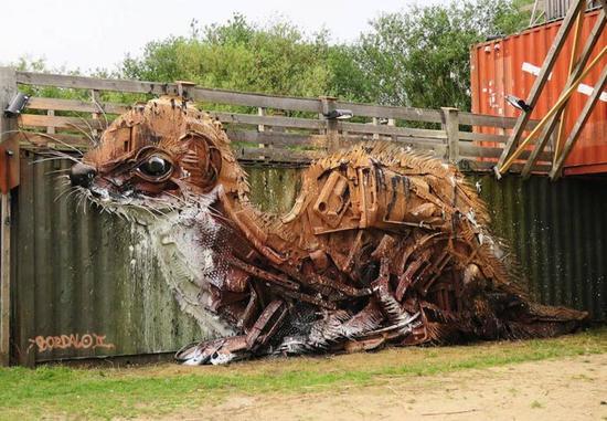 铁篱笆上的黄鼠狼