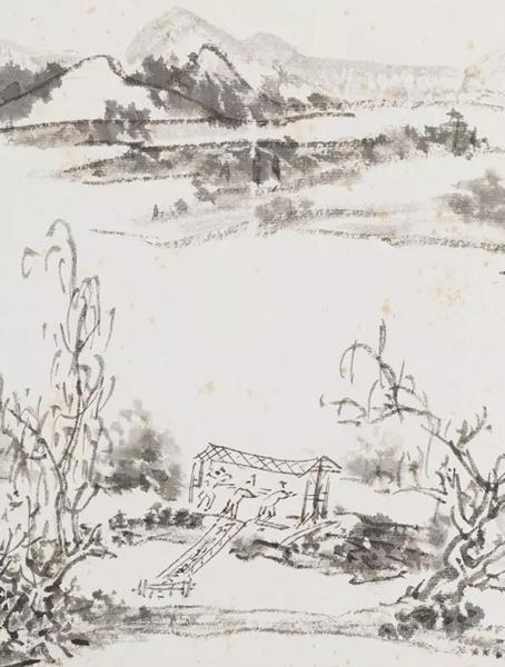「蜀中桥上多建屋,此灌县离堆以下数里小景。」