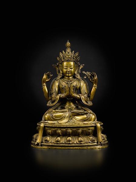 清康熙 铜鎏金四臂观音坐像