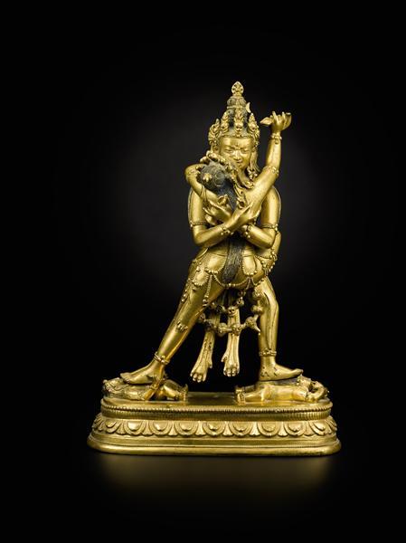 蒙古、十八世纪 铜鎏金 胜乐金刚立像