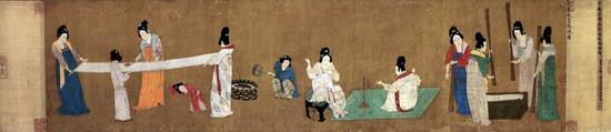 《捣练图》绢本,设色,37cm×145.3cm 波士顿美术博物馆藏