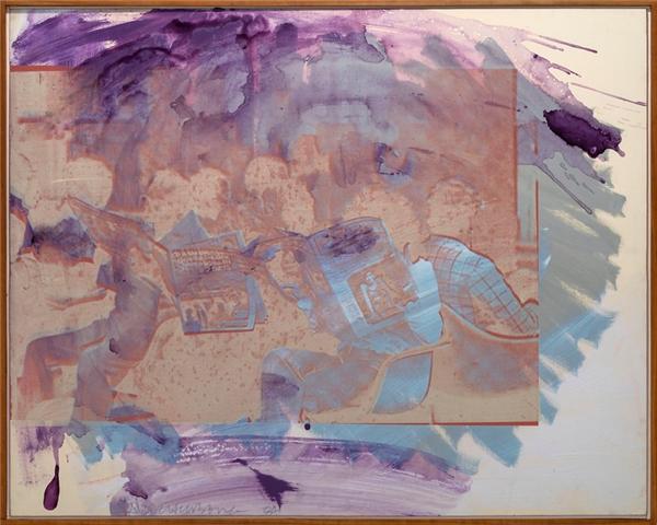 《抢救系列:无题(Untitled-Salvage)》,布面丙烯,1984年。图片来源于网络;图片致谢:罗伯特·劳森伯格基金会和巴黎达泰斯·洛巴克画廊