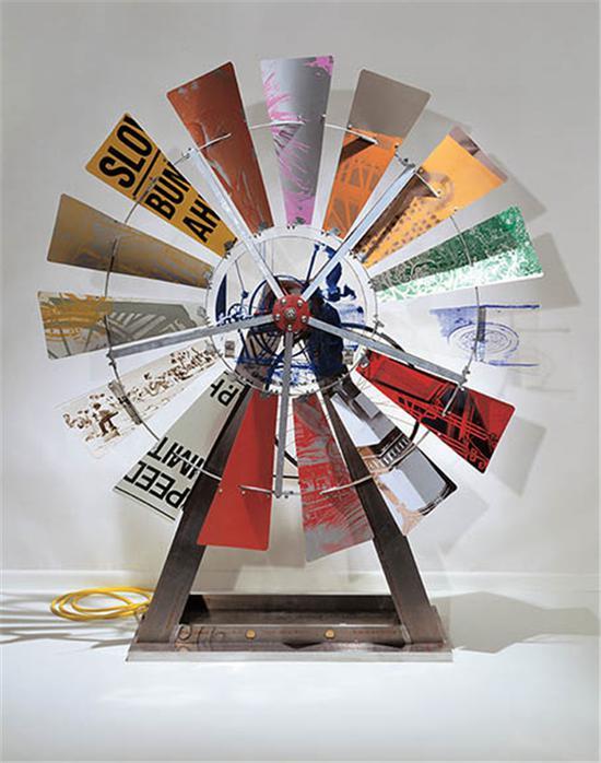 法恩沃斯美术馆展出劳森伯格作品《生态-回音8(Eco-Echo VIII)》, 1993年。图片来源: 法恩沃斯美术馆官网