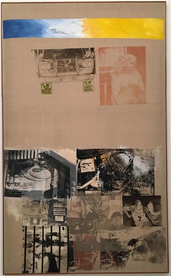 《抢救系列:护城河(Moat-Salvage)》,布面丙烯,拼贴和墨,1984年。图片来源:马丽亚;图片致谢:巴黎达泰斯·洛巴克画廊