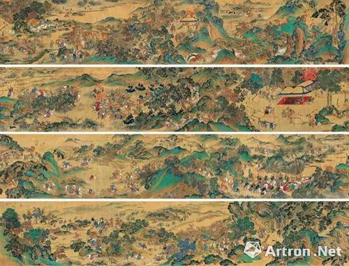 Lot 0769 佚名 《元人秋猎图》 手卷  设色绢本 59×1240cm