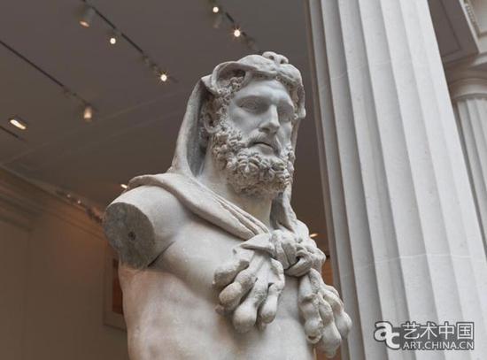 大都会博物馆罗马厅雕塑作品赫拉克勒斯细节