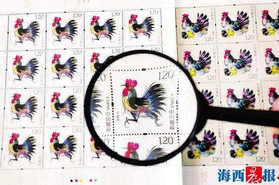 """中国邮政发行《丁酉年》生肖特种邮票一套两枚,分别为""""意气风发""""和""""丁酉大吉""""。 (新华社发)"""