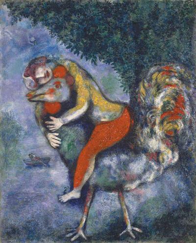 法国马可·夏加尔油画《公鸡》。