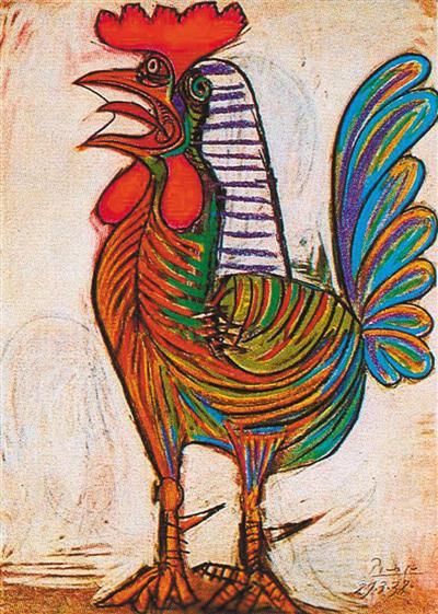 西班牙巴勃罗·毕加索蜡笔画《公鸡》。