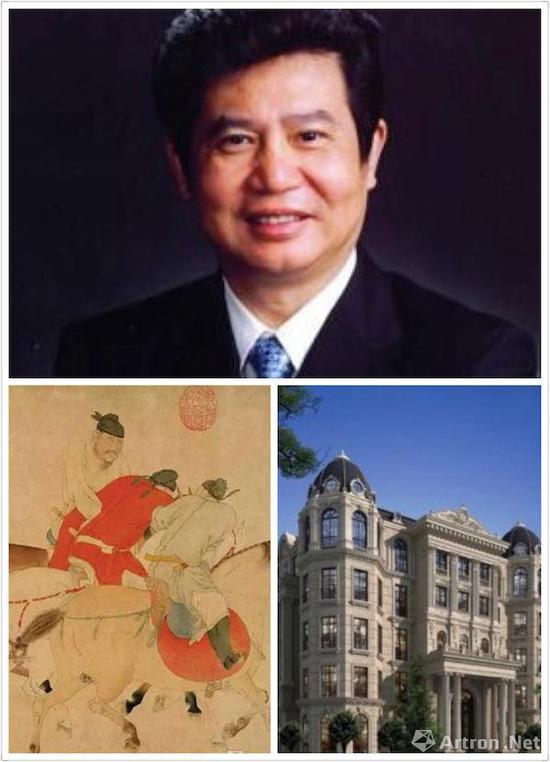 张桂平及其所竞拍的3.036亿元的任仁发(右下为苏宁博物馆相关资料图)