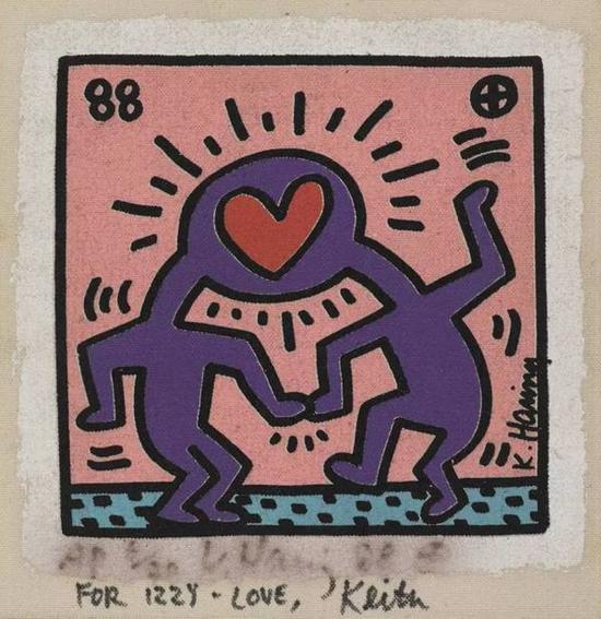 凯斯·哈林,《无题(For Izzy-Love)》,1988。图片:Courtesy Sotheby's.