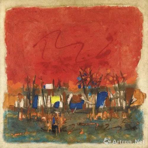 马克布勒·菲达·侯赛因《红色风景》1964年 油画画布 成交价:HK$875,000