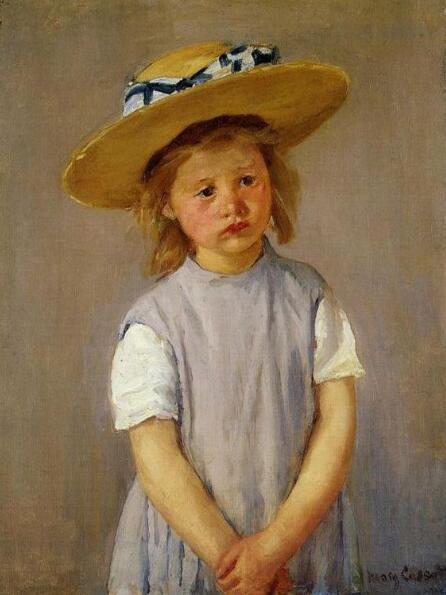 《戴着草帽的小女孩》,玛丽·卡萨特。图片来源:美国国家美术馆