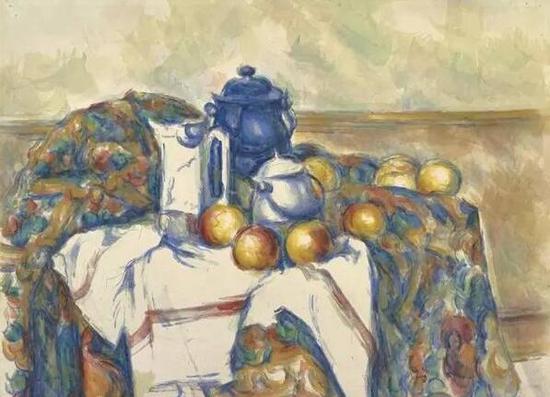 《有蓝色水壶的静物》,塞尚。图片来源:盖蒂博物馆