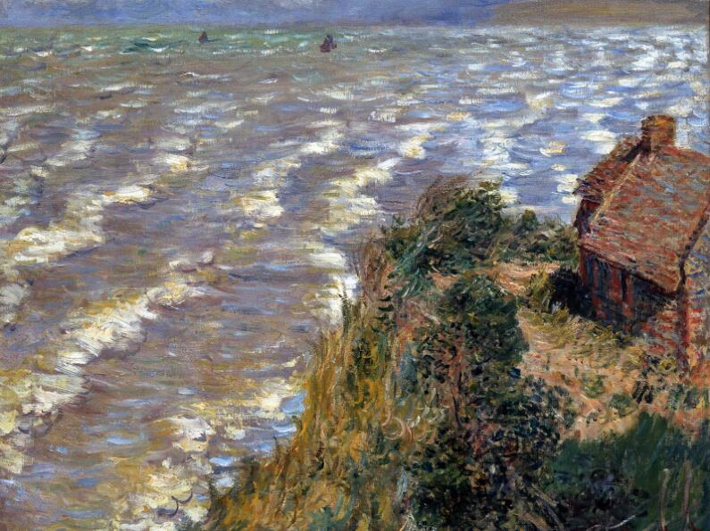 《普维尔海水涨潮》,莫奈。图片来源:布鲁克林博物馆