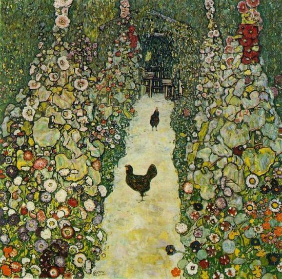 ▲克林姆《花园小径与鸡》(Garden Path with Chickens),1916。
