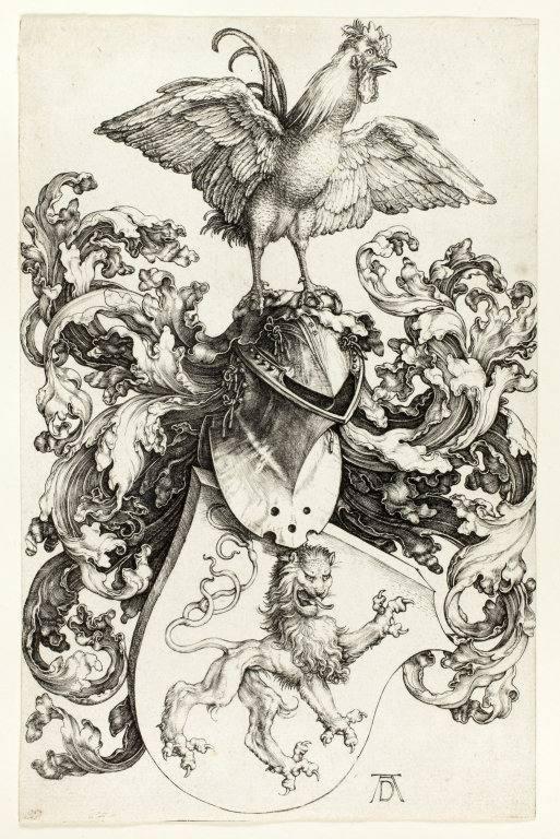 ▲杜勒《有鸡与狮子图腾的头盔》(Coat of Arms with Lion and Rooster),1503。