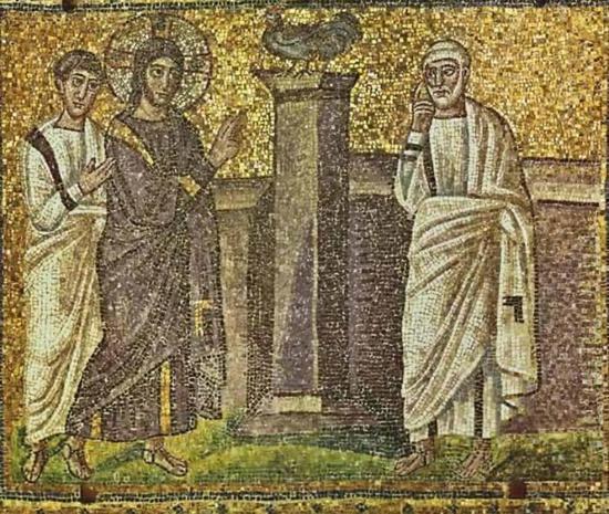 ▲《彼得三次否认主》(Peter's Denial),公元6世纪。