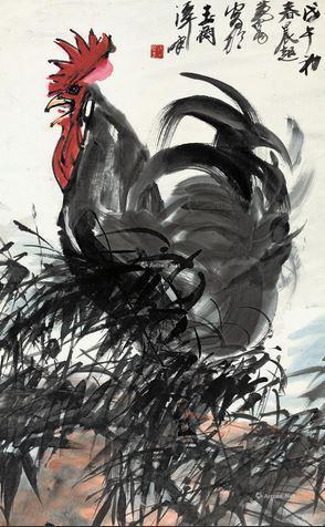 2014嘉德秋拍黄胄《大吉图》,100×62cm,成交于57.5万元