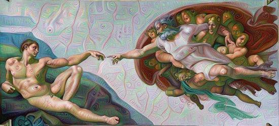 """在谷歌""""Deep Dream""""眼中的米开朗基罗的《创造亚当》创作者是数字艺术家凯尔·麦克唐纳(Kyle McDonald),利用了谷歌的"""" Deep Dream """"程序"""