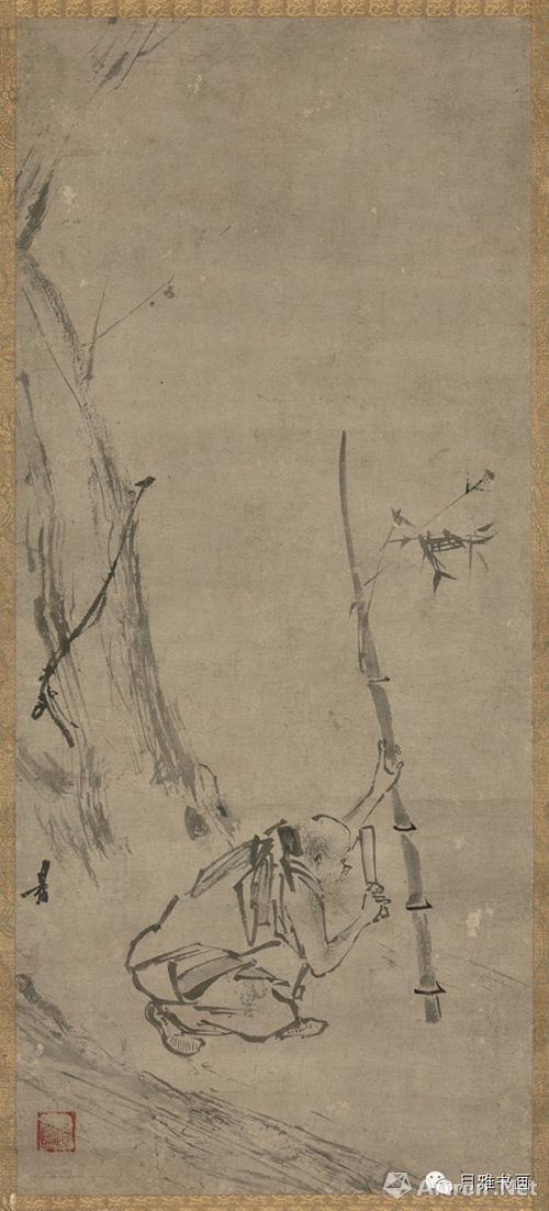 南宋 梁楷 六祖斫竹图 纸本墨笔 73×31.8cm 日本东京国立博物馆藏
