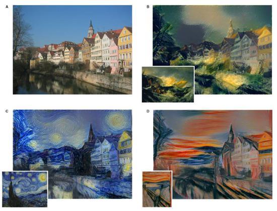原照片(左上)分别被转换为不同的风格:特纳(J.M.W。 Turner)的《米诺陶战舰的倾覆(The Shipwreck of the Minotaur)》风格(右上)、文森特·梵高(Vincent van Gogh)的《星夜(The Starry Night)》风格(左下)、以及爱德华·蒙克(Edvard Munch)的《呐喊》风格(右下)。