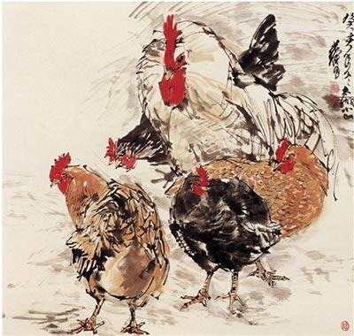 现代 黄胄 五鸡 64×66cm 1983年 纸本