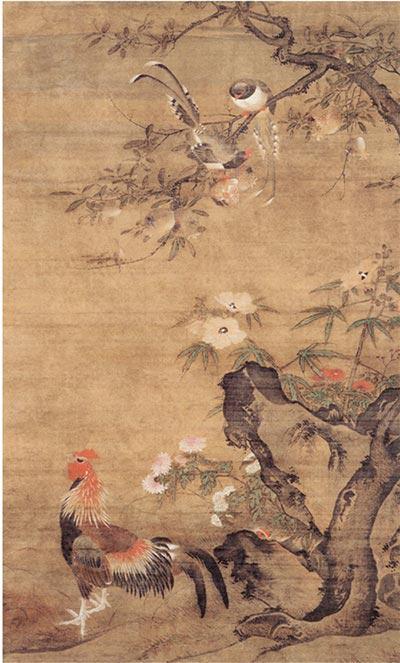 明 吕纪 榴葵绶鸡图 200.8×105cm 绢本