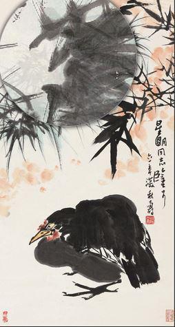 2015保利秋拍潘天寿《大吉图》,76.5×41cm,成交于425.5万元