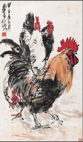2014保利春拍黄胄《大吉图》,96×57cm,成交于207万元