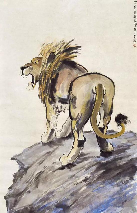 徐悲鸿(1895-1953) 雄狮1939年作 设色纸本 镜心 100×65cm