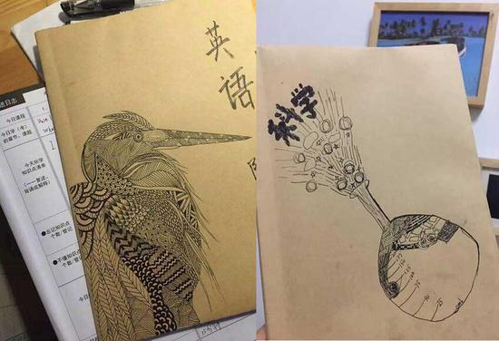 昨天在一个微信群里,有人晒了她亲笔画上去的几本书皮。同样很有才,有木有?