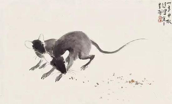 徐悲鸿(1895-1953) 双鼠图 1941年作 设色纸本 镜心 26×42cm估价:RMB 300,000-360,000 来源:新加坡藏家旧藏