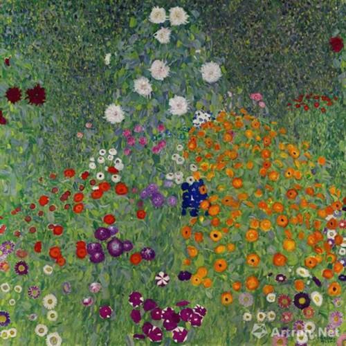 古斯塔夫-克林姆(Gustav Klimt) 《花草农园》 1907年作 油彩画布,110x110cm 估价待询 [此作展至2月15日]