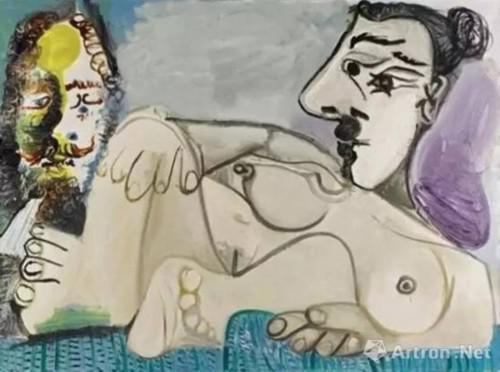 欧洲私人收藏 巴布罗 · 毕加索 (Pablo Picasso) 《躺卧裸女与男子头像》油彩画布,