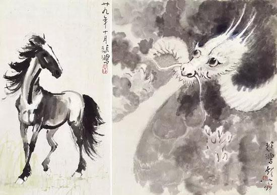 徐悲鸿(1895-1953) 龙马精神 1940年作 设色纸本 镜心 ①31×26.5cm ②32.5×18cm估价:RMB 1,080,000-1,320,000 来源:新加坡藏家旧藏
