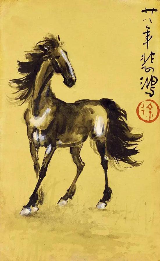 徐悲鸿(1895-1953) 马 1939年作 设色纸本 镜心 15×9cm估价:RMB 210,000-240,000 来源:新加坡藏家旧藏