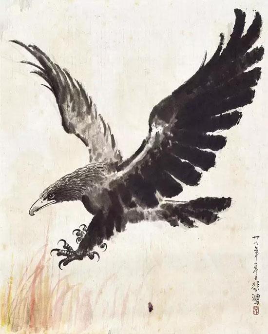 徐悲鸿(1895-1953) 雄鹰振翅 1939年 设色纸本 镜心 56×44cm估价:RMB 300,000-360,000 来源:新加坡藏家旧藏