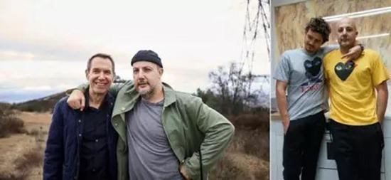 史蒂芬·斯姆肖维茨与艺术家杰夫·昆斯(左)以及演员奥兰多·布鲁姆(右)(图片由史蒂芬·斯姆肖维茨提供)