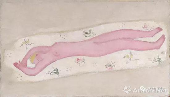 常玉 《碎花毯上的粉红裸女》