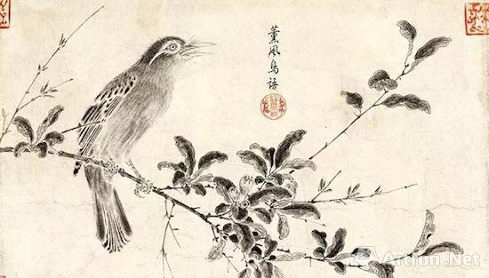 宋徽宗赵佶《写生珍禽图卷》第二段:熏风鸟语